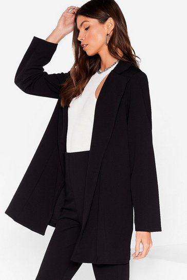 Black In Pur-Suit Relaxed Longline Jacket