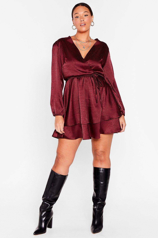 Plus Size Double Layer Satin Mini Dress 8