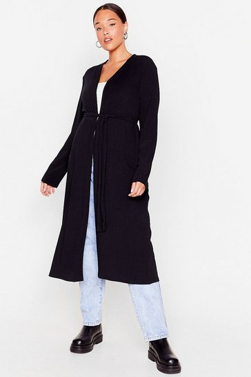 Black Longline to the Top Belted Plus Cardigan