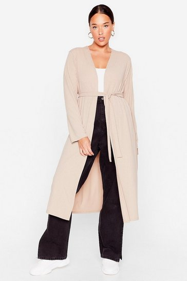 Stone Plus Size Ribbed Longline Belted Cardigan
