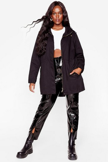 Black Whatever the Weather Plus Longline Parka Coat