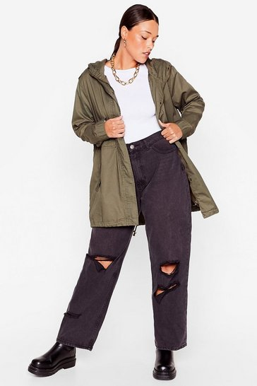 Khaki Whatever the Weather Plus Longline Parka Coat