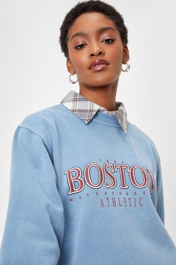 Washed blue We're Boston It Oversized Graphic Sweatshirt