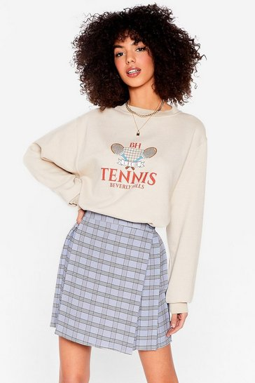 Sand Serves 'Em Right Tennis Oversized Graphic Sweatshirt