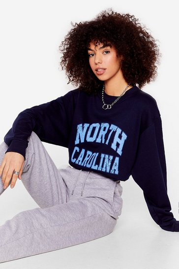 Navy North Carolina Oversized Graphic Sweatshirt