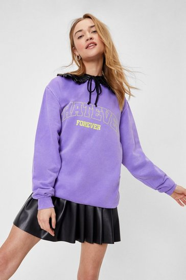 Lilac Whatever Forever Oversized Graphic Sweatshirt