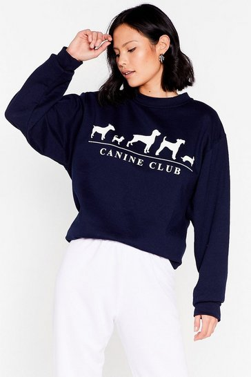 Navy Raise the Woof Oversized Graphic Sweatshirt