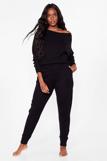 Black Have You Heard Off-the-Shoulder Plus Lounge Set