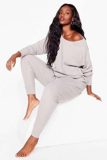 Grey Plus Size Off the Shoulder Loungewear Set