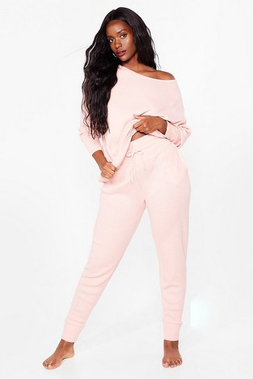 Pink Plus Size Off the Shoulder Loungewear Set