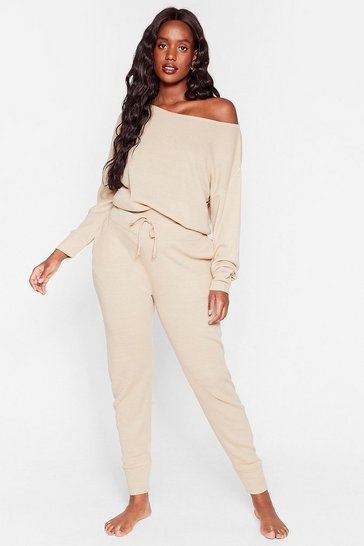 Stone Plus Size Off the Shoulder Loungewear Set