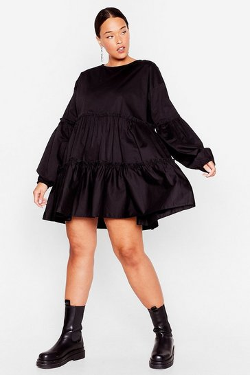 Black Tier We Come Plus Mini Dress