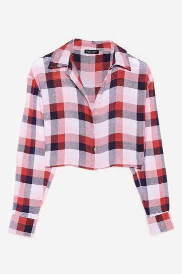 Pink Tell Me Oversize Cropped Check Shirt
