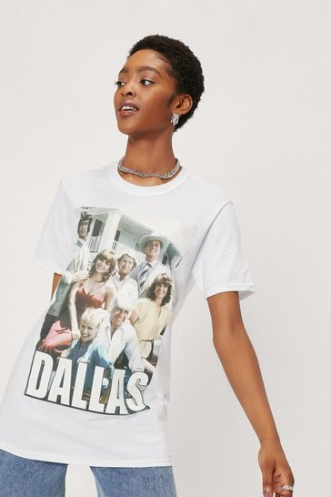 White Welcome to Dallas Oversized Graphic Tee