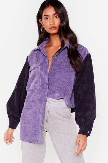 Purple Colorblock 'N Roll Oversized Corduroy Shirt