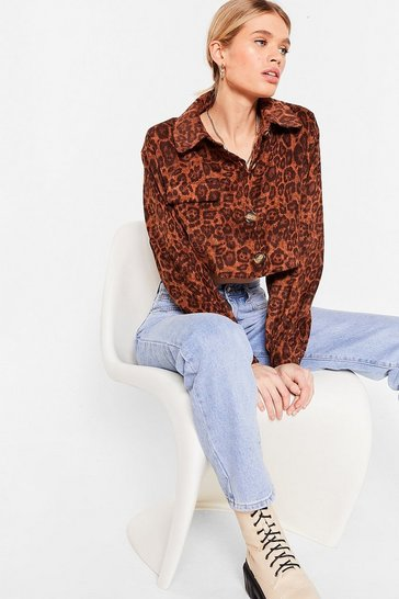 Brown Cropped Cord Leopard Shirt