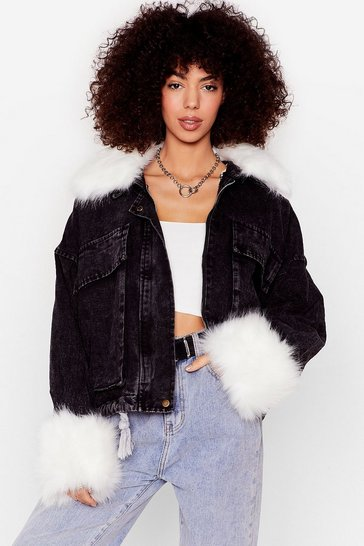 Black We Wanna Know the Details Faux Fur Denim Jacket