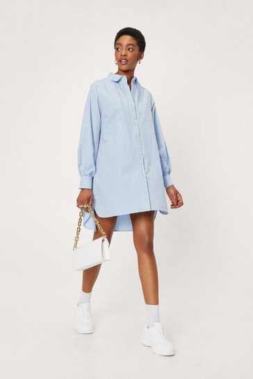 Baby blue Oversized Button Down Mini Shirt Dress