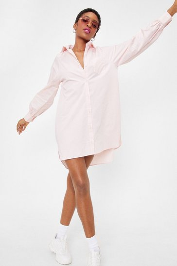 Baby pink Give It Back to Hem Oversized Shirt Dress