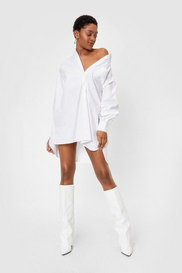 White Give It Back to Hem Oversized Shirt Dress