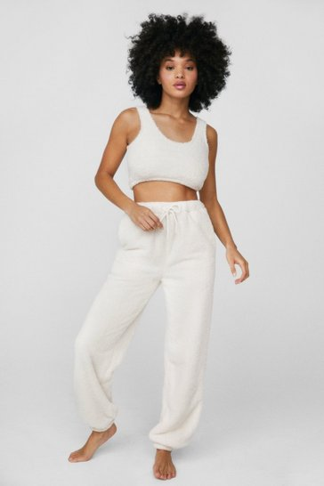 Cream Faux Shearling Crop Top and Joggers Lounge Set