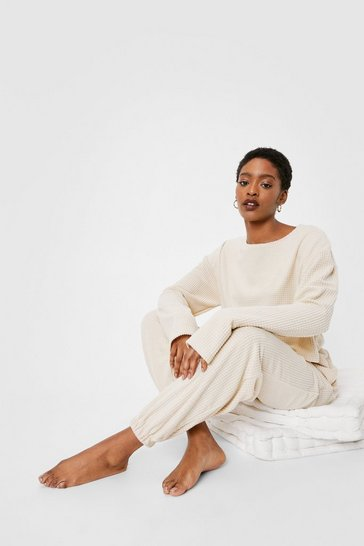 Cream Just Do Knit Sweater and Joggers Lounge Set