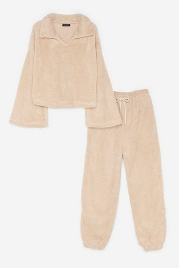 Cream Teddy or Not Faux Fur Joggers Lounge Set