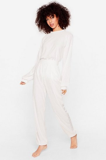 Cream Get It Together Knit Hoodie and Wide-Leg Pant Set
