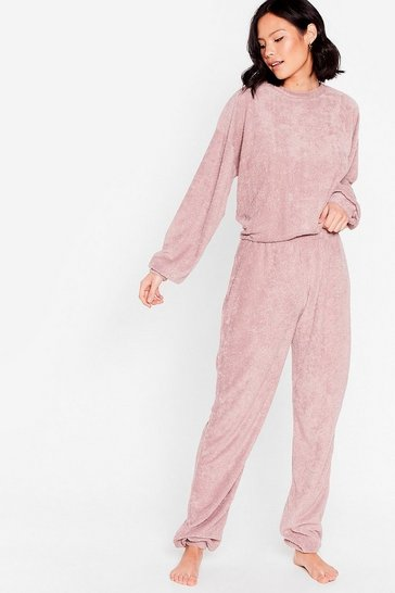 Mauve Get It Together Knit Hoodie and Wide-Leg Pant Set