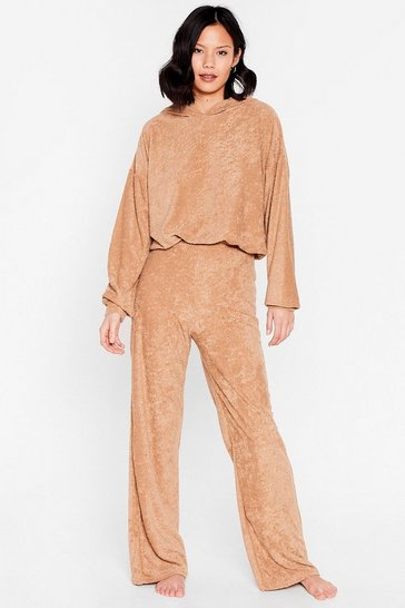 Caramel Get It Together Knit Hoodie and Wide-Leg Pant Set