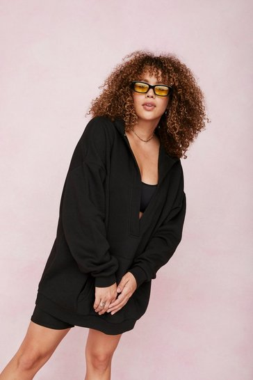 Black Plus Size V Neck Oversized Hoodie