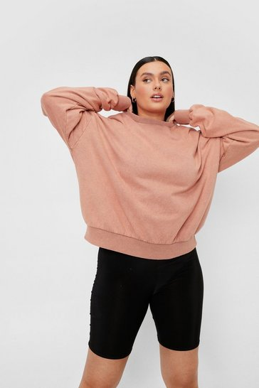 Apricot Plus Size Shoulder Pad Oversized Sweatshirt
