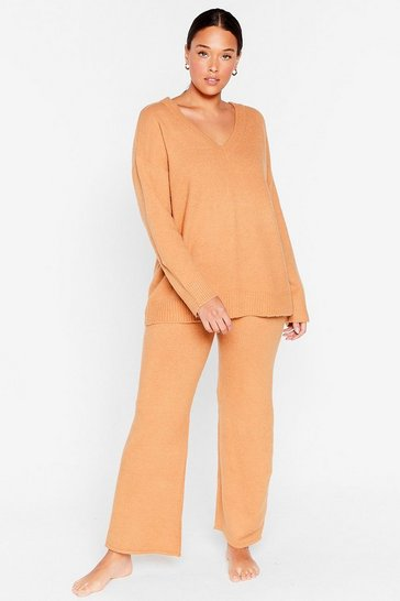 Camel Plus Size V Neck Knitted Loungewear Set