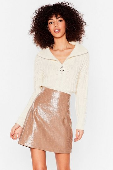 Beige Croc 'Em Off Their Feet Faux Leather Mini Skirt