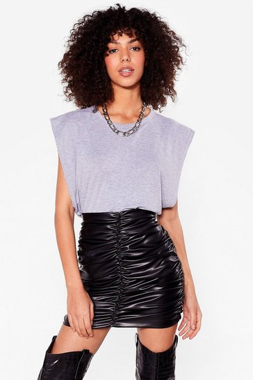 Black Such a Ruche Faux Leather Mini Skirt