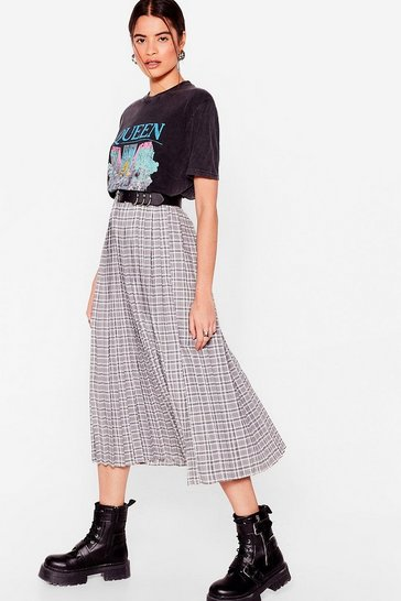 Mono Check Pleated Midi