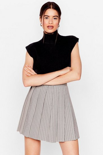 Multi Check Pleated High Waisted Mini Skirt
