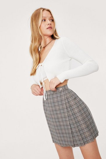 Beige Check Pleated Mini Skirt