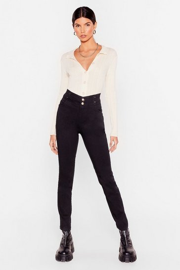 Black High Waisted Button Skinny Pants