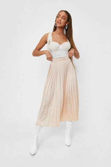 Almond Not Here to Pleat You Satin Midi Skirt