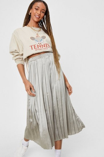Pistachio Not Here to Pleat You Satin Midi Skirt