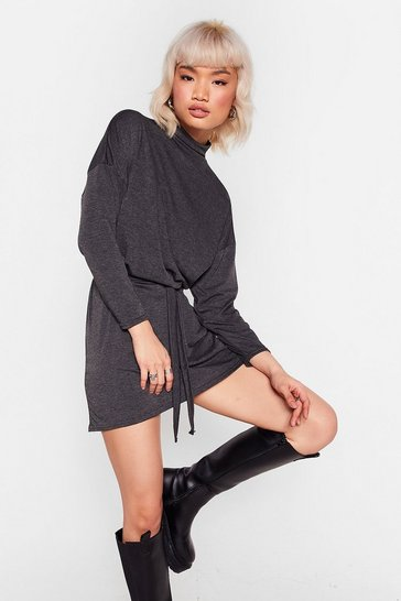 Charcoal Tee BT Belted Mini Dress
