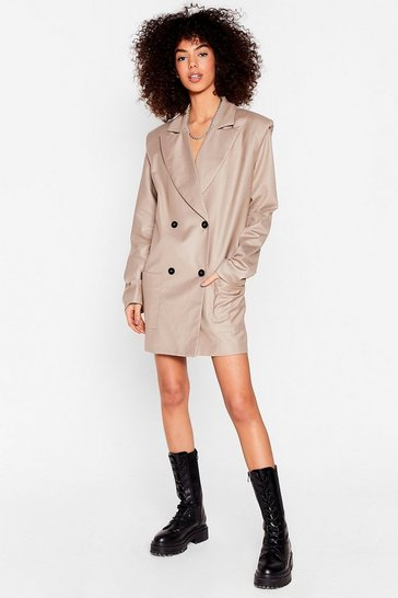 Taupe None of Our Business Shoulder Pad Blazer Dress