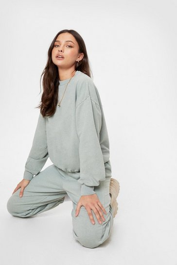 Sage Oversized High Waisted Acid Wash Joggers