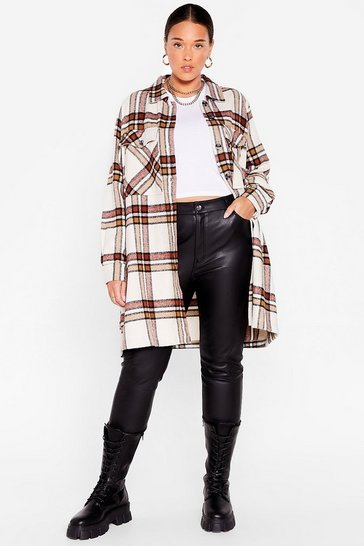 Cream Plus Size Plaid Longline Shacket