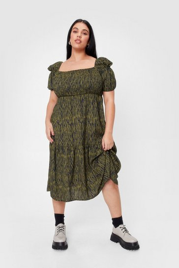 Green Eye of the Tiger Plus Shirred Maxi Dress