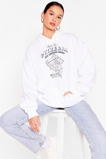 White Oversized Pizzeria Graphic Sweatshirt