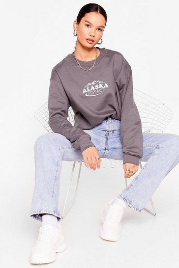Charcoal Oversized Alaska Graphic Sweatshirt