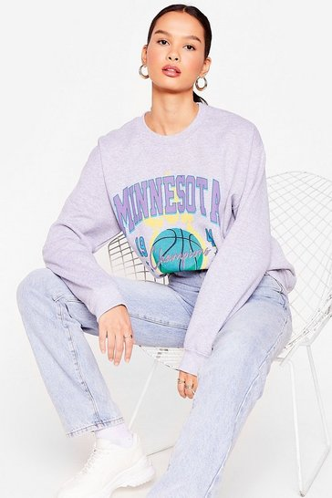 Grey We Are the Champions Oversized Graphic Sweatshirt