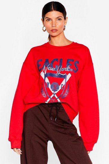 Red BaseBall New York Graphic Sweatshirt